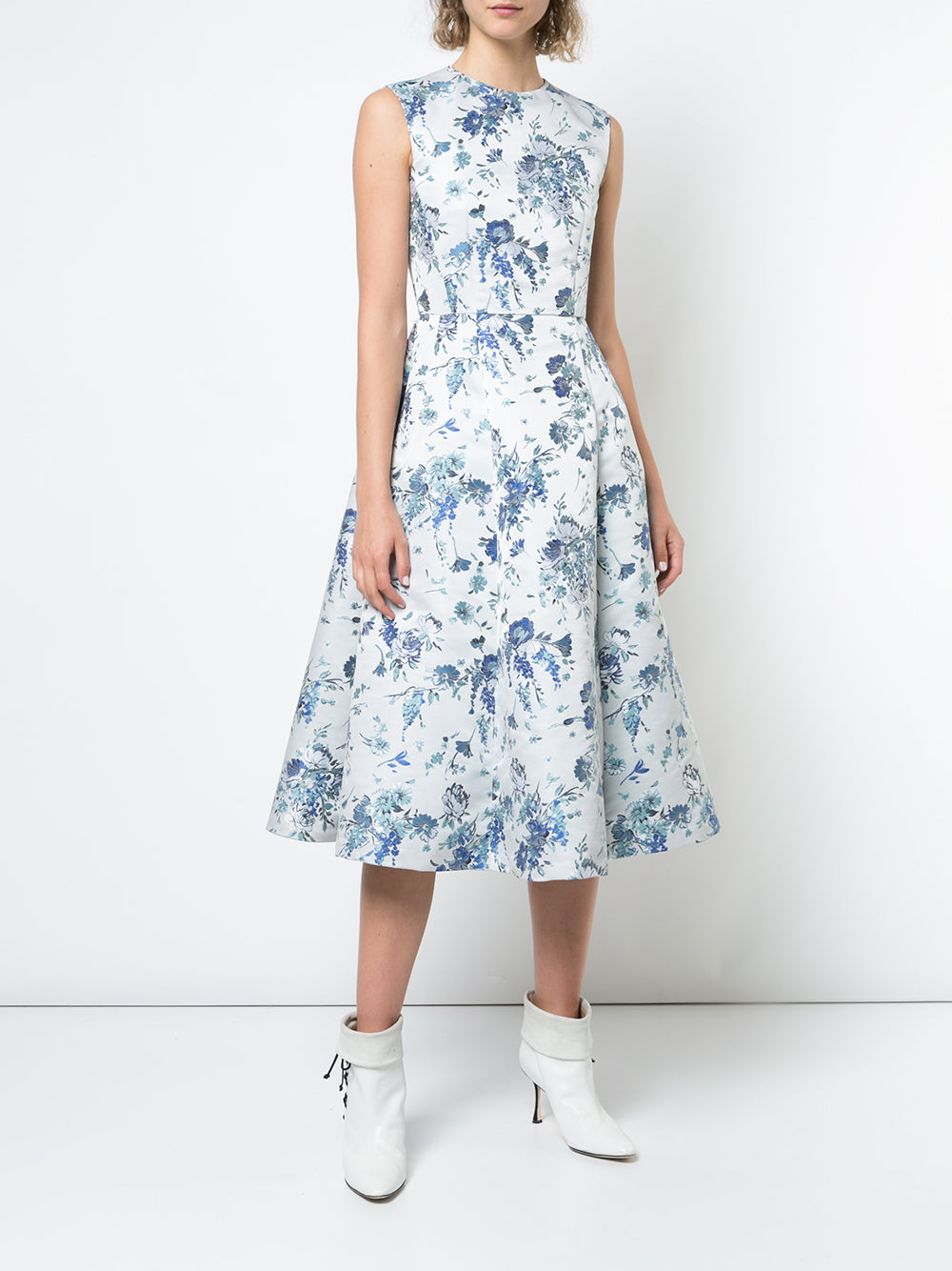 FLORAL SILK JACQUARD SLEEVELESS CREWNECK FLUTED DRESS