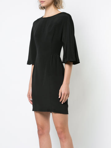 SILK CREPE MINI DRESS WITH FLUTTER SLEEVE