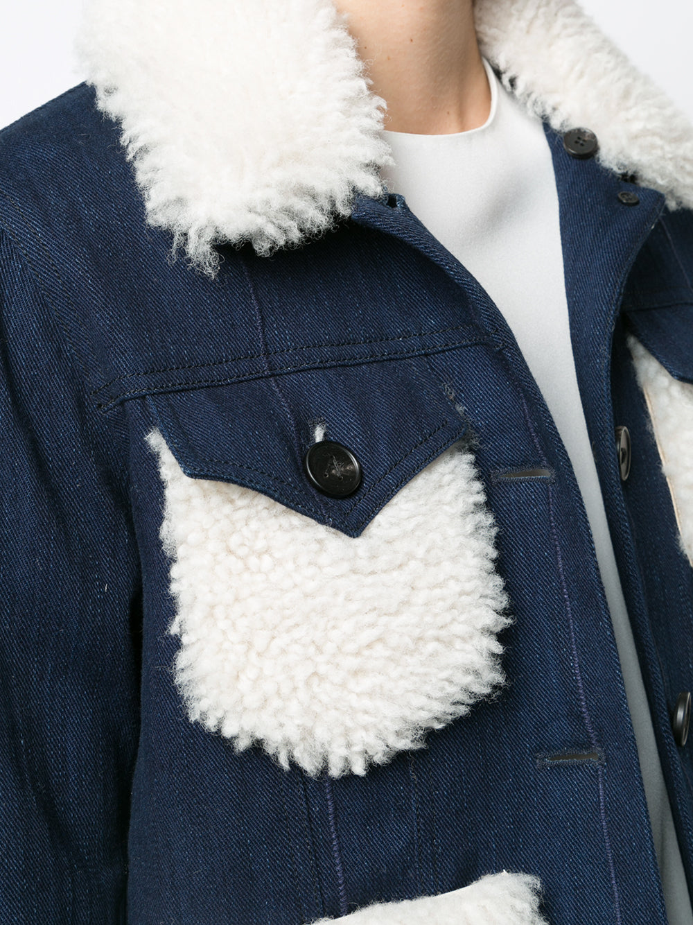 DENIM JACKET WITH SHEARLING COLLAR AND PATCH POCKETS