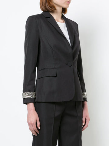 GABARDINE WOOL SCHOOLBOY BLAZER WITH DETACHABLE CRYSTAL CUFFS