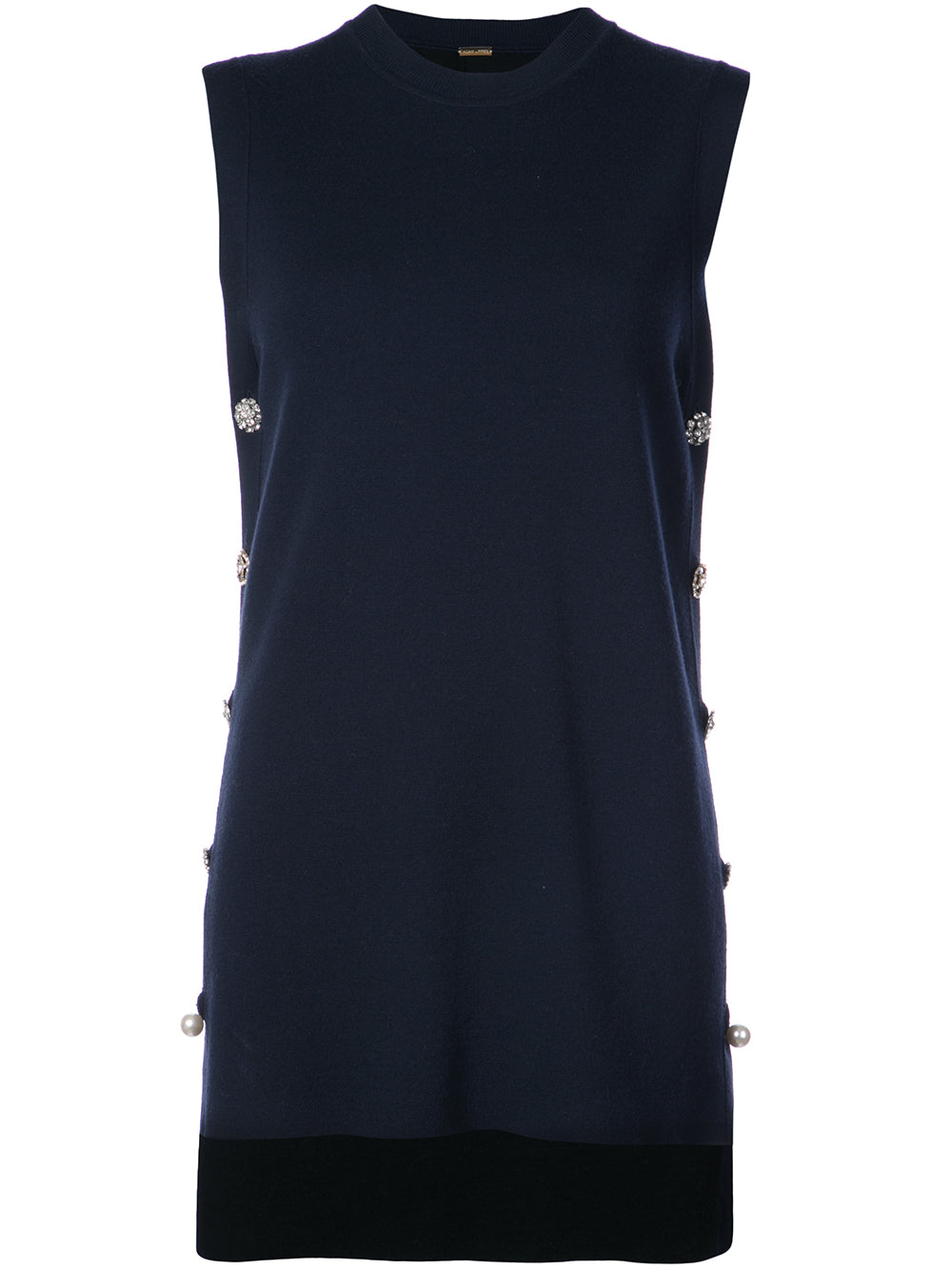 MERINO WOOL SLEEVELESS TUNIC WITH JEWEL BUTTONS