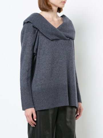 MARLED WOOL CASHMERE DEEP V-NECK SWEATER