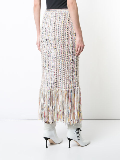 HAND-KNIT TWEED MIDI SKIRT WITH FRINGE