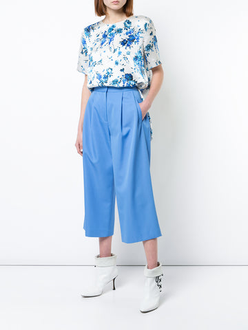 GABARDINE WOOL PLEAT-FRONT CULOTTE