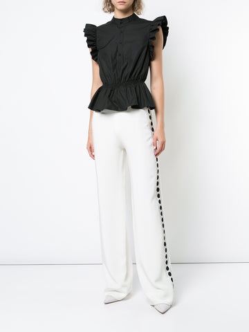 SILK CREPE WIDE-LEG PANT WITH RIBBON TRIM