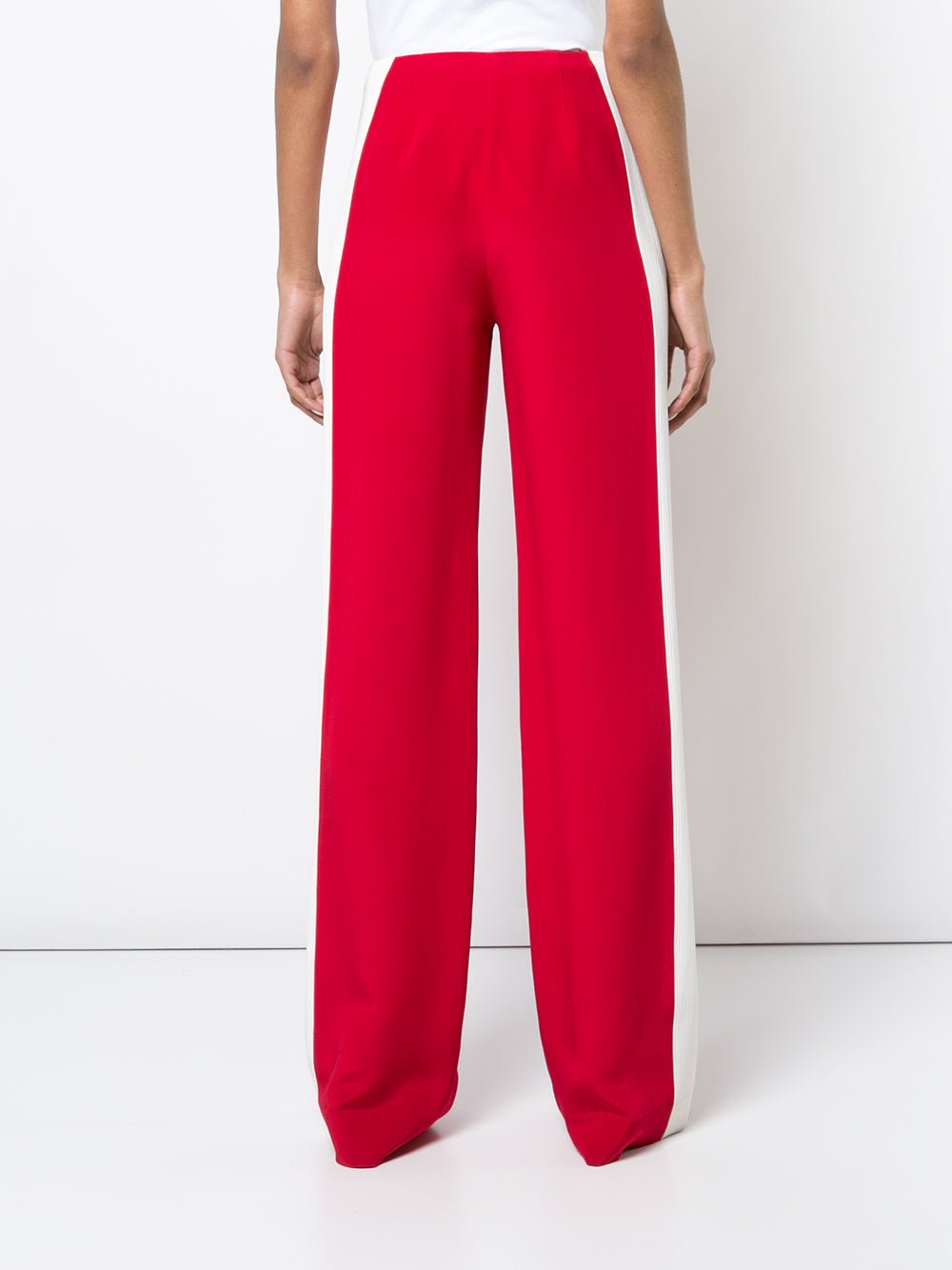 SILK CREPE WIDE LEG PANT WITH TRAPUNTO TRIM