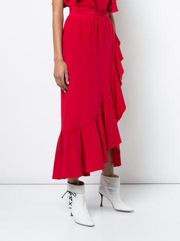 SILK CREPE WRAP MIDI SKIRT WITH RUFFLE TRIM