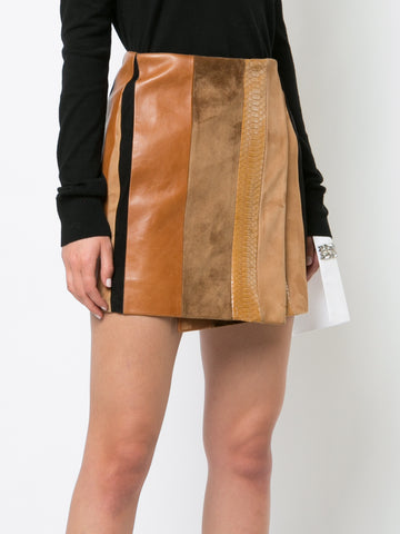 LEATHER PATCHWORK WRAP MINI SKIRT