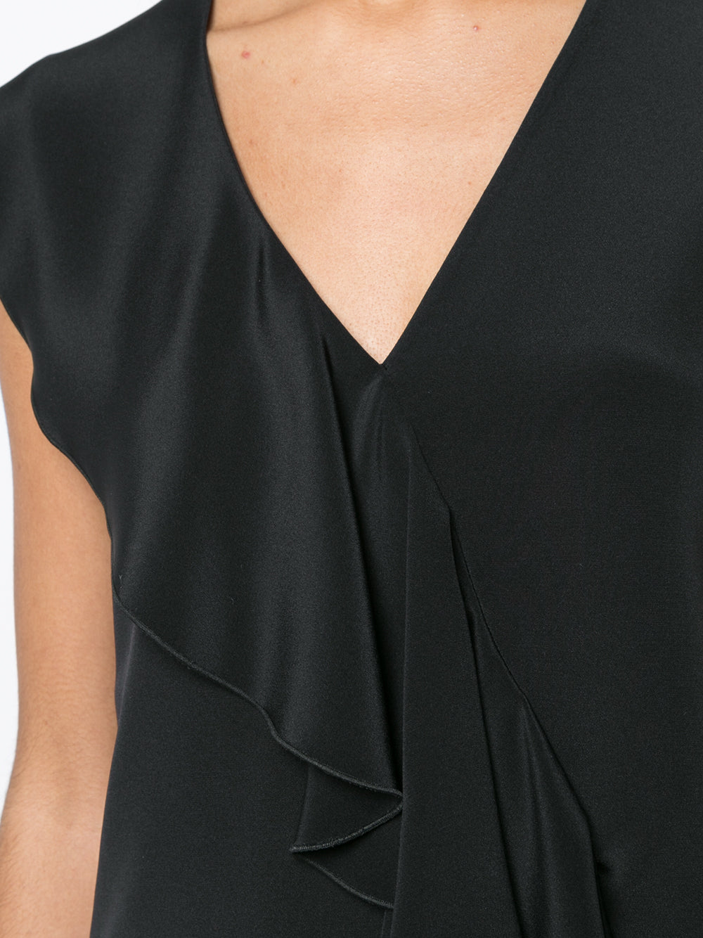 SILK CREPE SLEEVELESS V-NECK SHELL WITH RUFFLE