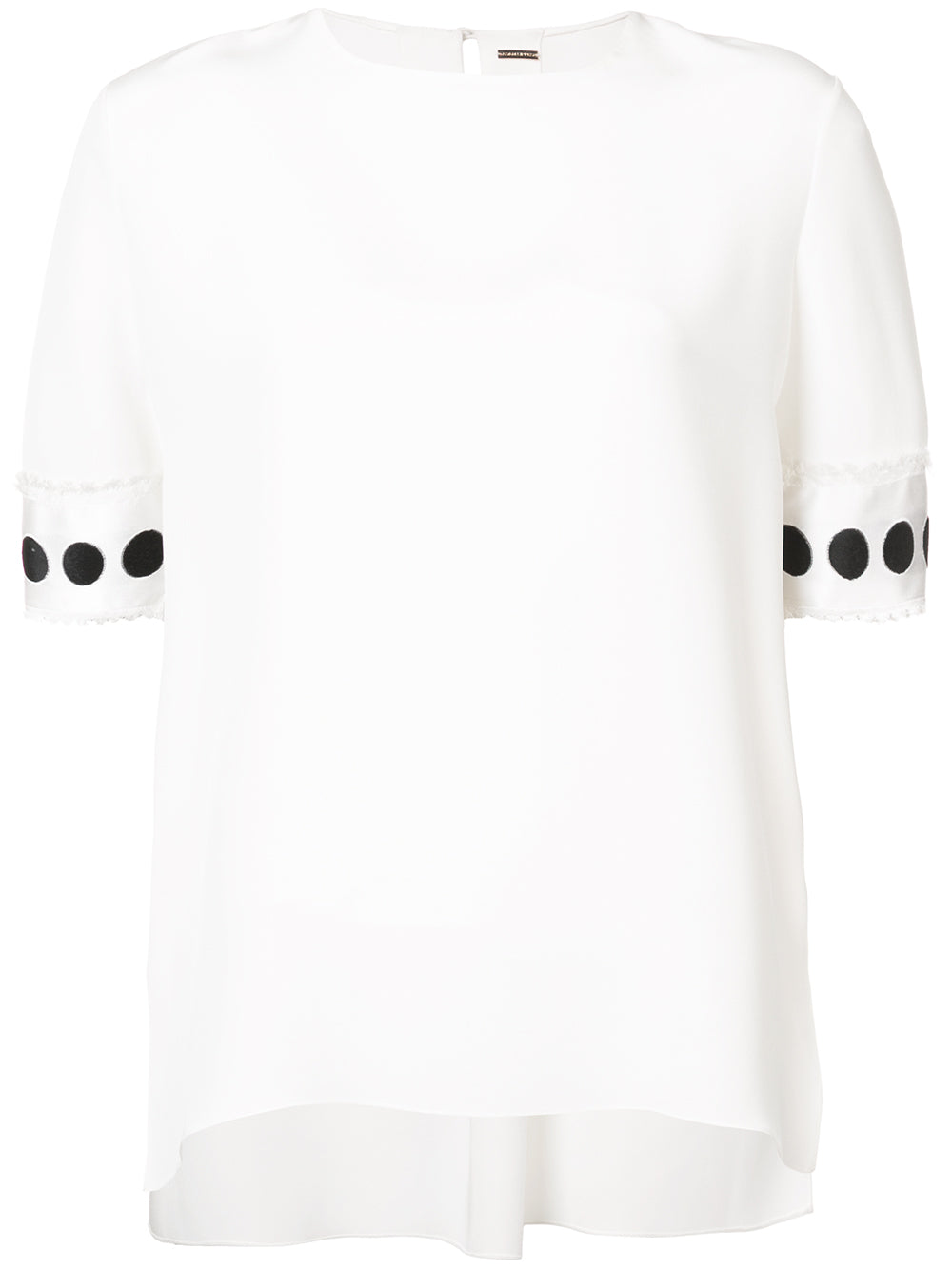 SILK CREPE T-SHIRT WITH RIBBON CUFFS