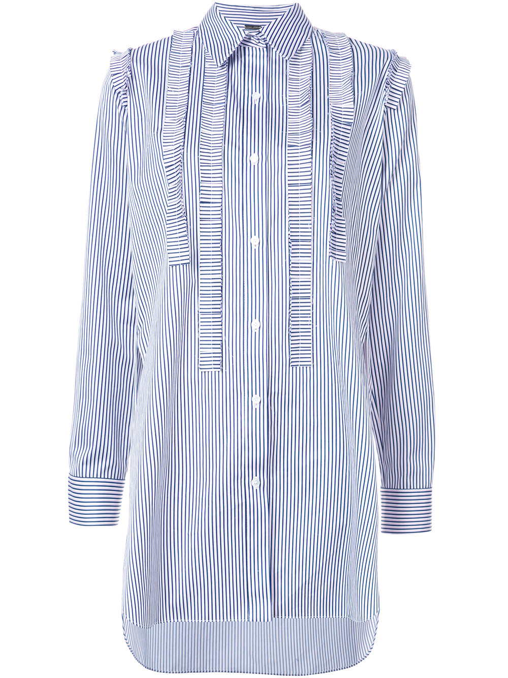 STRIPED COTTON JACQUARD TUNIC WITH PLEATED RUFFLE TRIM