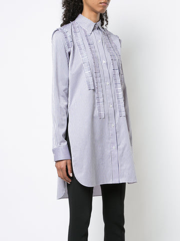 COTTON POPLIN MOCKNECK BLOUSE WITH SMOCKED SLEEVE