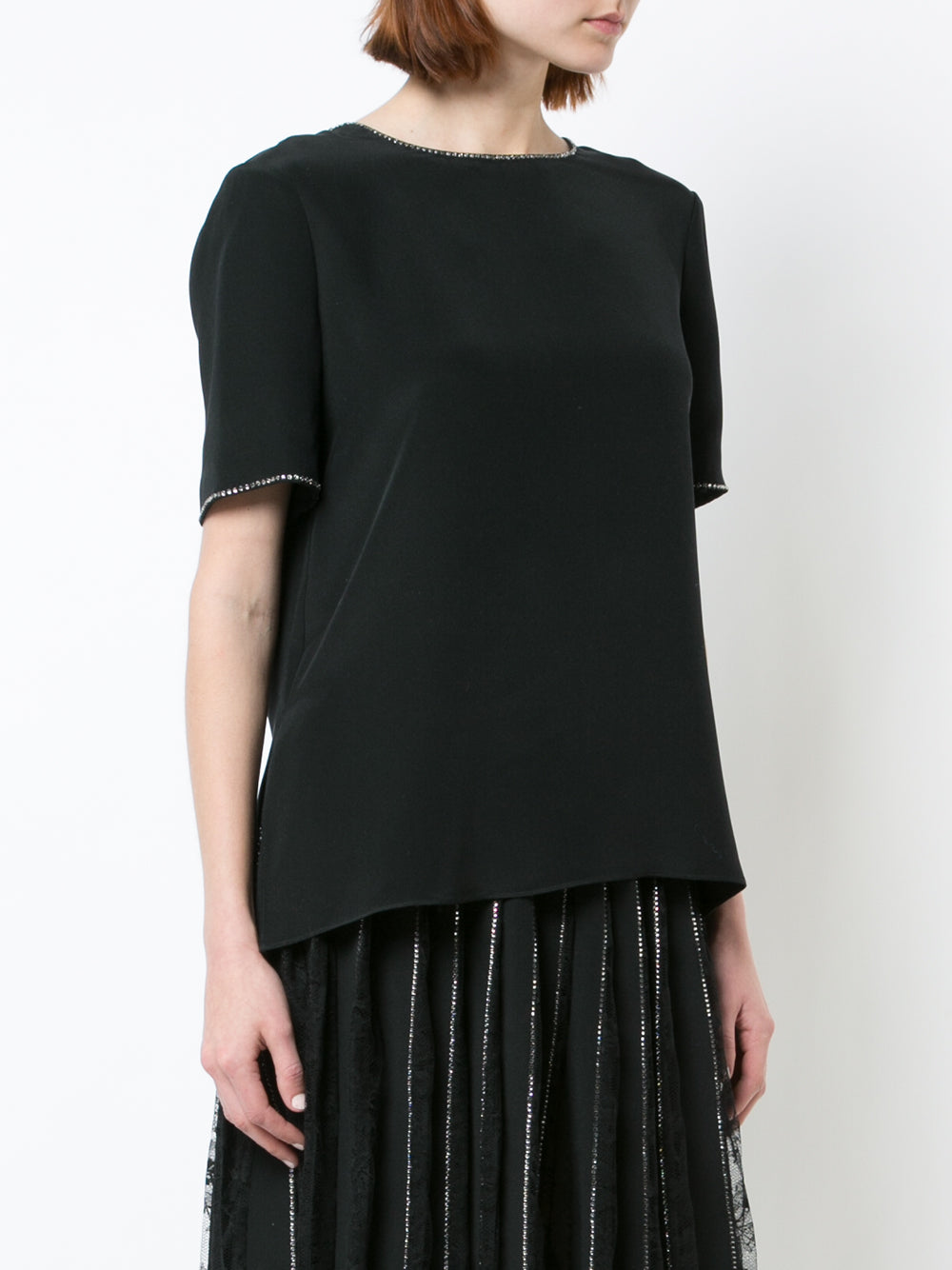 SILK CREPE T-SHIRT WITH CRYSTAL TRIM