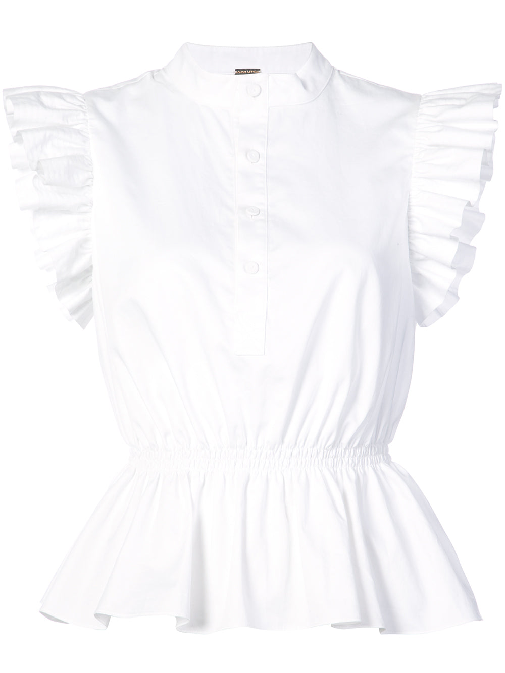 COTTON POPLIN PEPLUM TOP WITH RUFFLE SLEEVE