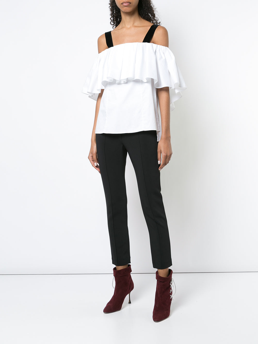 COTTON POPLIN OFF-THE-SHOULDER TOP WITH VELVET STRAPS