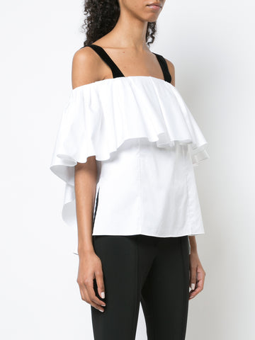 SILK CHARMEUSE SHORT SLEEVE CROSS BACK T-SHIRT