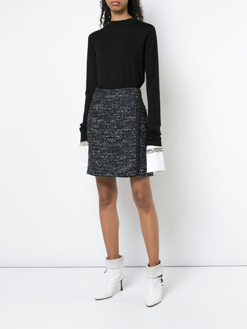 COTTON TWEED WRAP MINI SKIRT