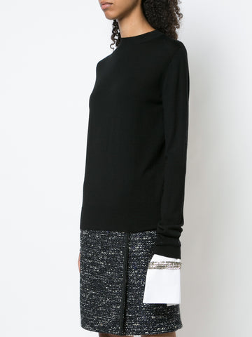 BRUSHED CASHMERE COLORBLOCK CREWNECK SWEATER