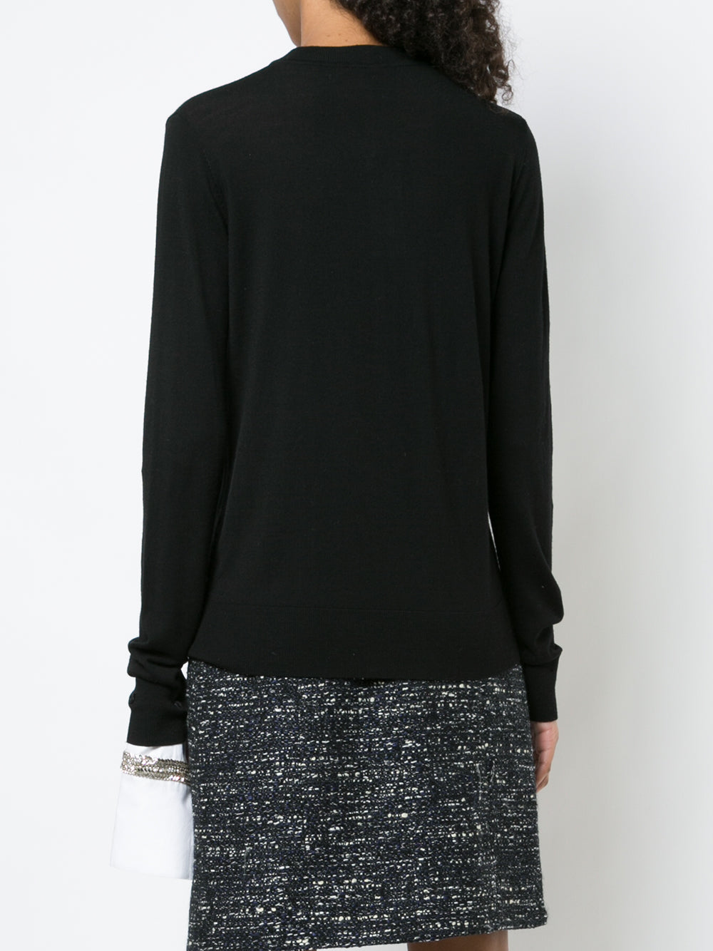 MERINO WOOL CREWNECK SWEATER WITH DETACHABLE EMBROIDERED CUFF