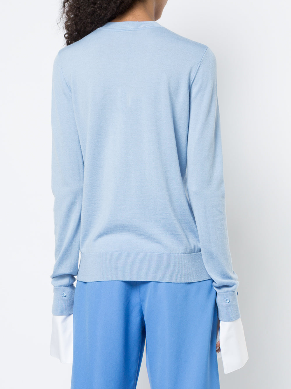 MERINO WOOL CREWNECK SWEATER WITH DETACHABLE OXFORD COTTON CUFF