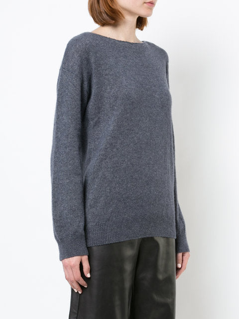 BRUSHED CASHMERE BOATNECK SWEATER WITH OPEN BACK