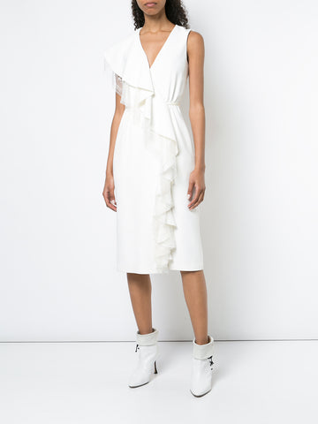 STRETCH CADY SLEEVELESS WRAP DRESS WITH RUFFLE TRIM