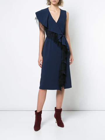 DOUBLE FACE WOOL BOATNECK DRESS