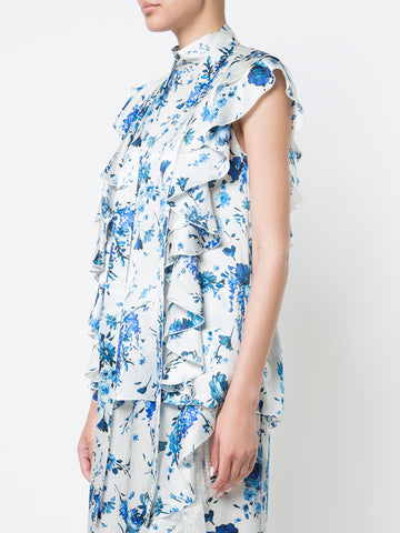 PRINTED SATIN CHIFFON BLOUSE WITH DETACHABLE SCARF