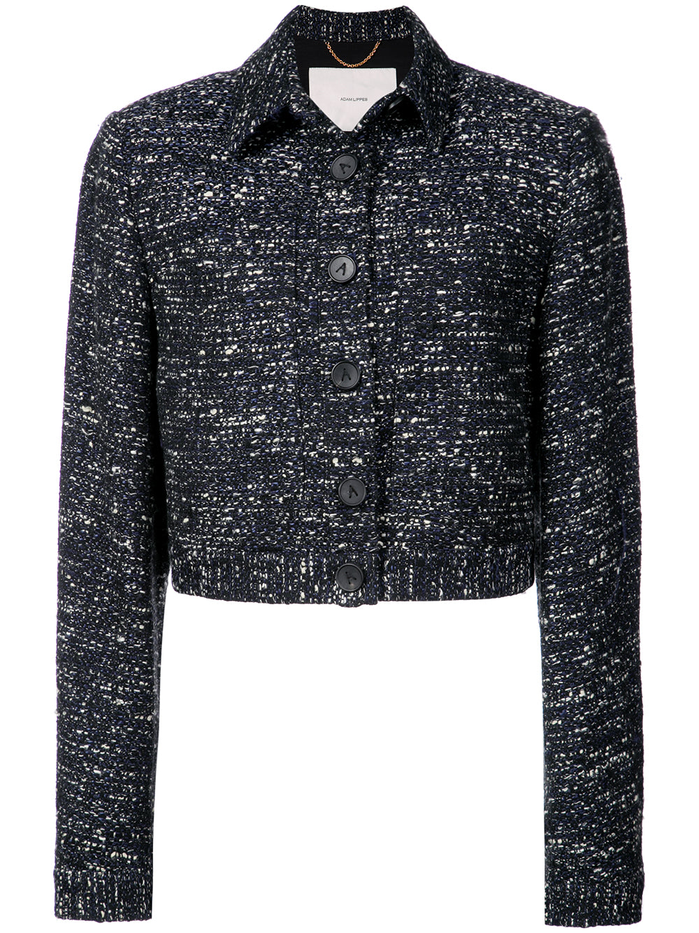 COTTON TWEED CROPPED JACKET WITH PATCH POCKETS