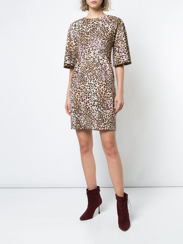 PRINTED LEATHER BOATNECK DRESS