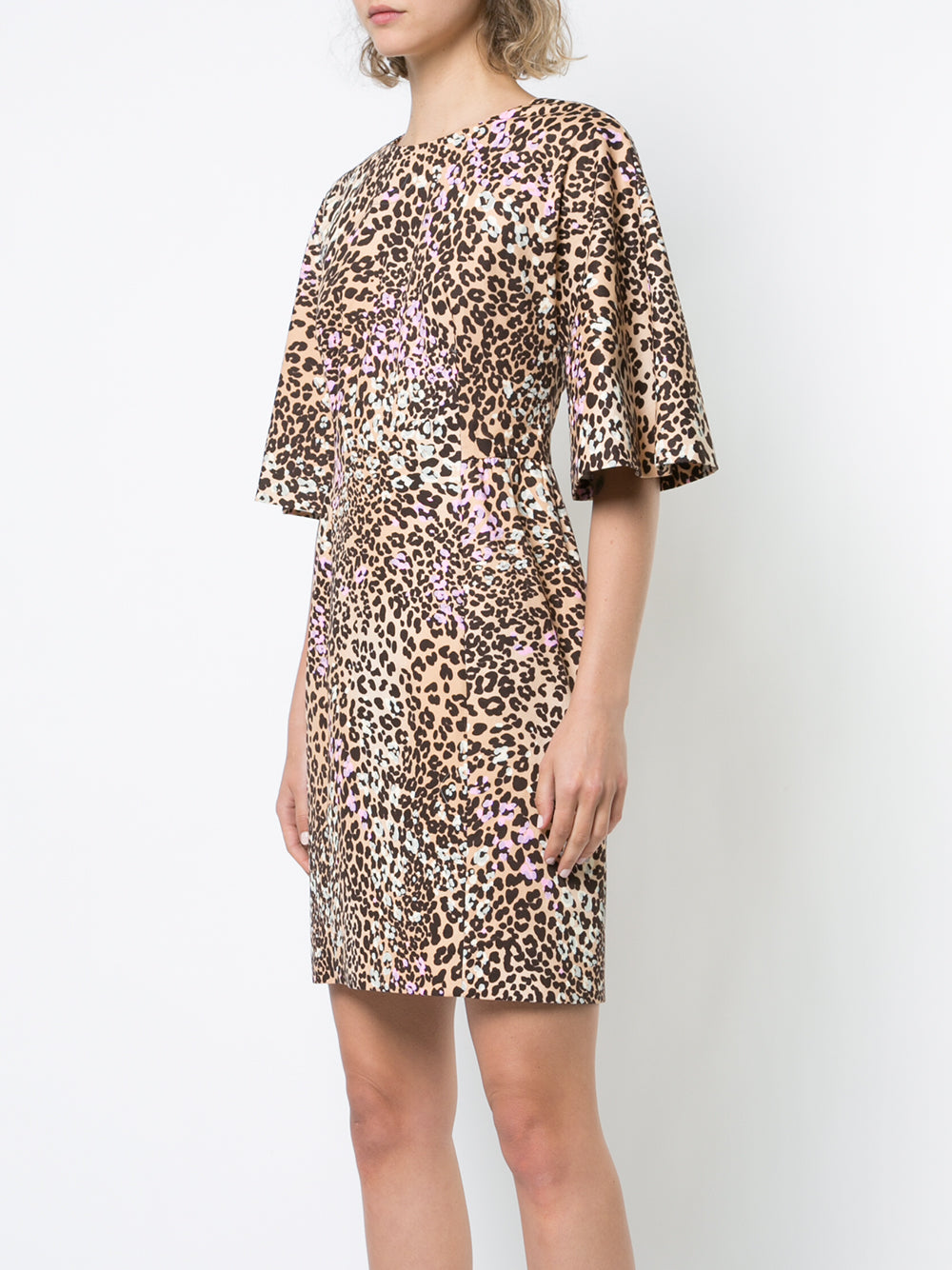 LEOPARD PRINT COTTON MINI DRESS WITH FLUTTER SLEEVE