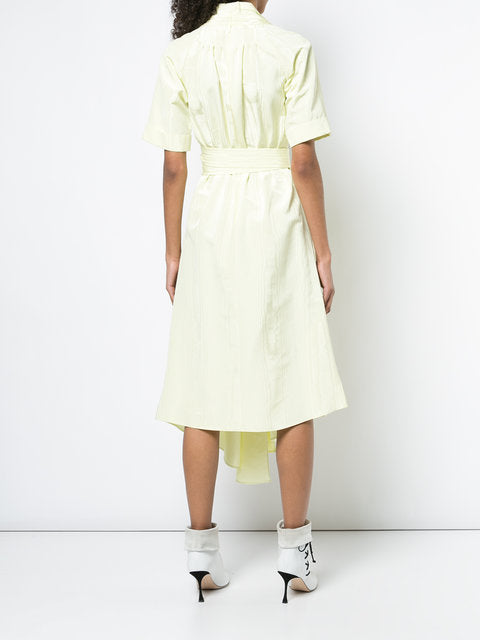 MOIRE SHORT SLEEVE V-NECK ASYMMETRICAL DRESS WITH BELT