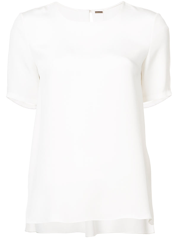 PLEAT BACK SHORT SLEEVE TOP