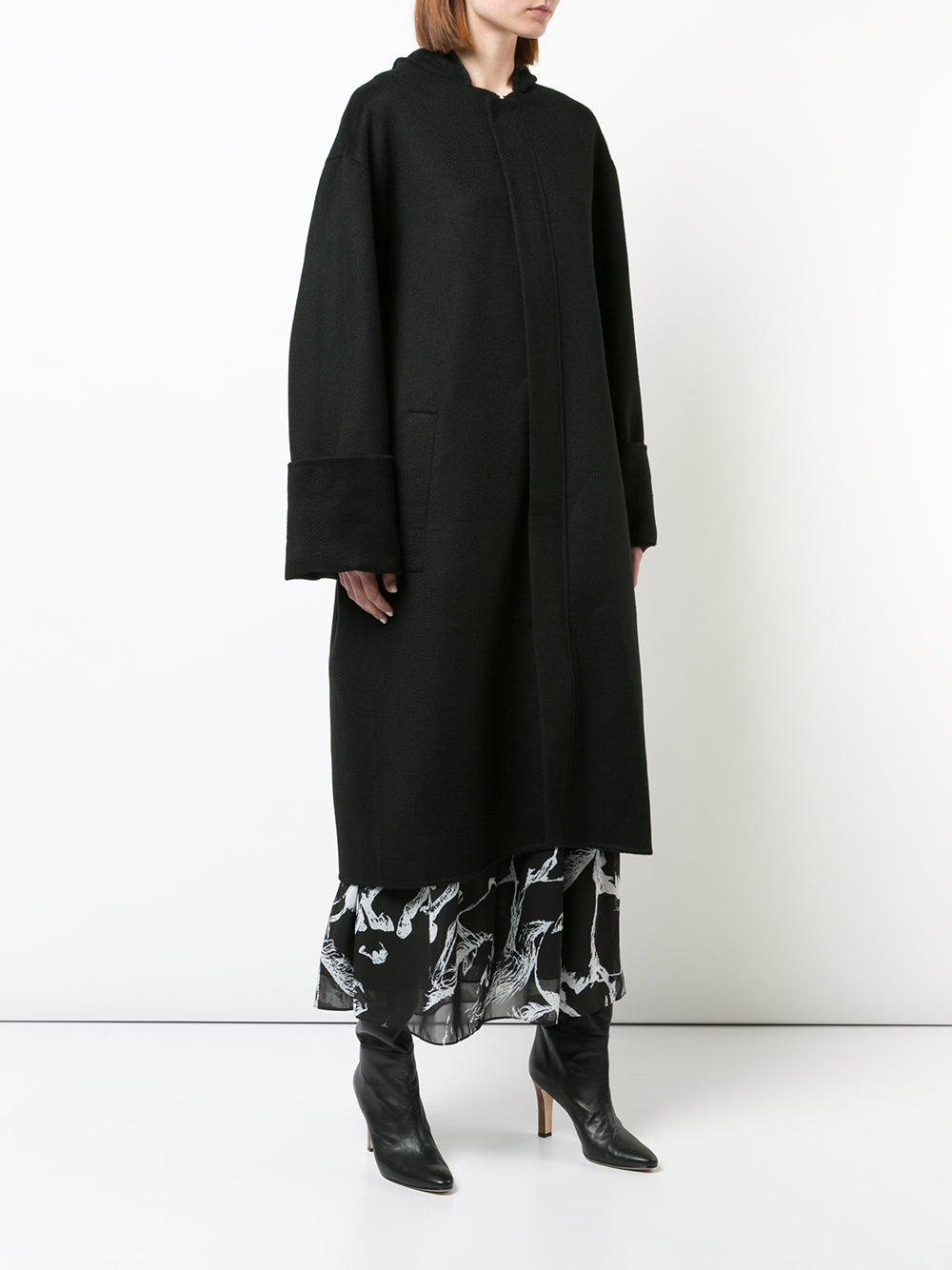 HOODED COAT IN ZIBELLINE CASHMERE