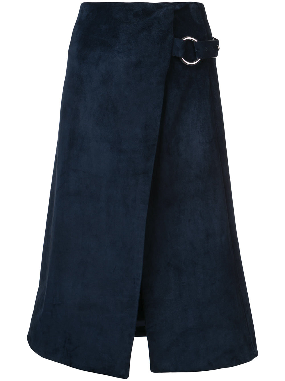 CALF SUEDE WRAP SKIRT WITH METAL CLOSURE