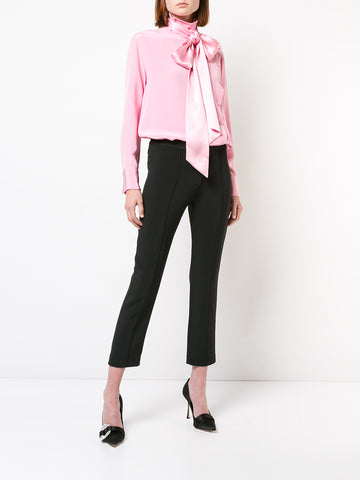 SATIN CHIFFON LONG SLEEVE BLOUSE WITH DETACHABLE SCARF
