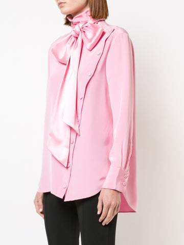 SILK LONG SLEEVE BLOUSE WITH DETACHABLE SCARF