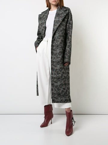SCOTTISH TWEED COCOON COAT WITH BONDED LACE