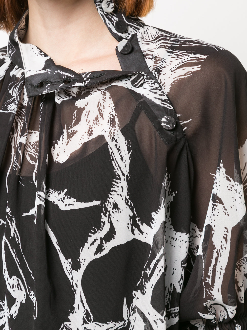 PRINTED PEBBLE CHIFFON MOCKNECK BLOUSE WITH SMOCKED SLEEVE