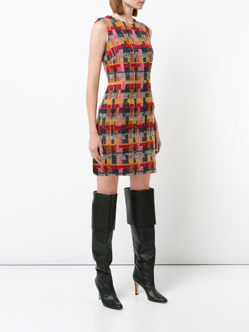 STRIPED COTTON JACQUARD V-NECK DRESS