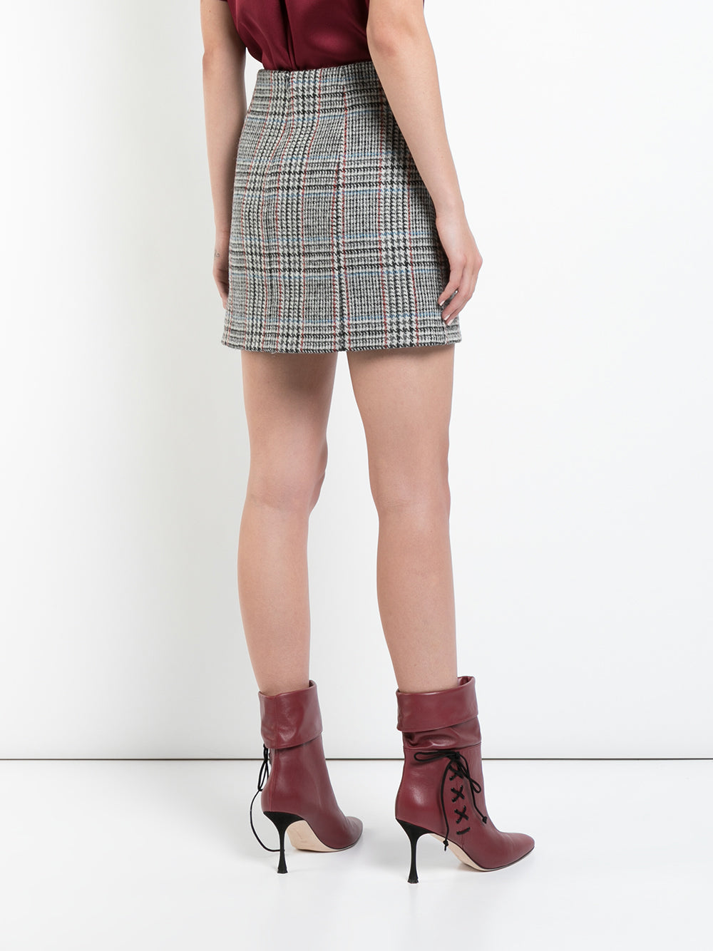 SCOTTISH TWEED MINI WRAP SKIRT WITH BUTTONS