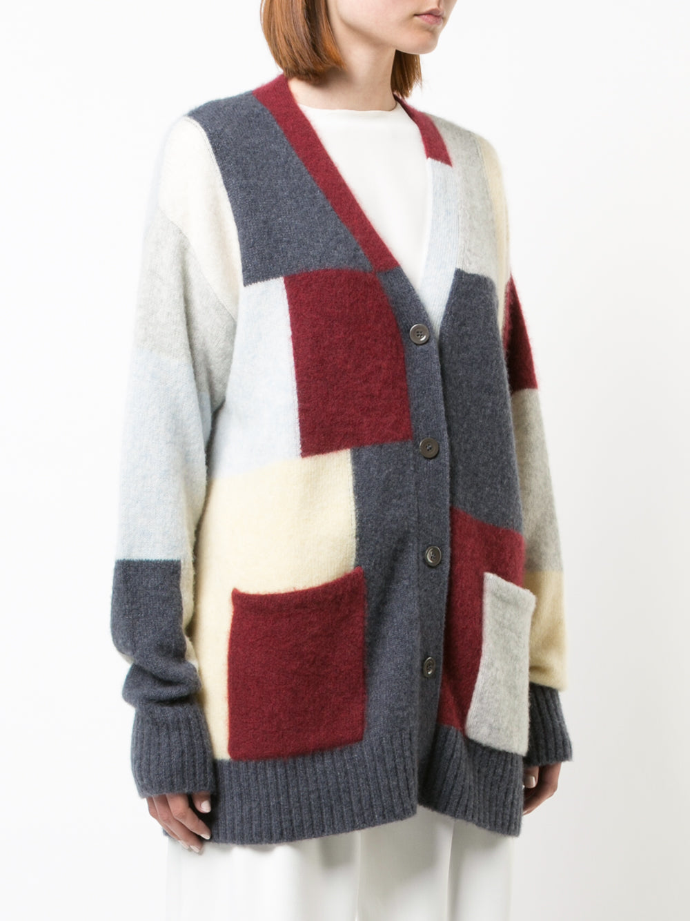 BRUSHED CASHMERE PATCHWORK CARDIGAN