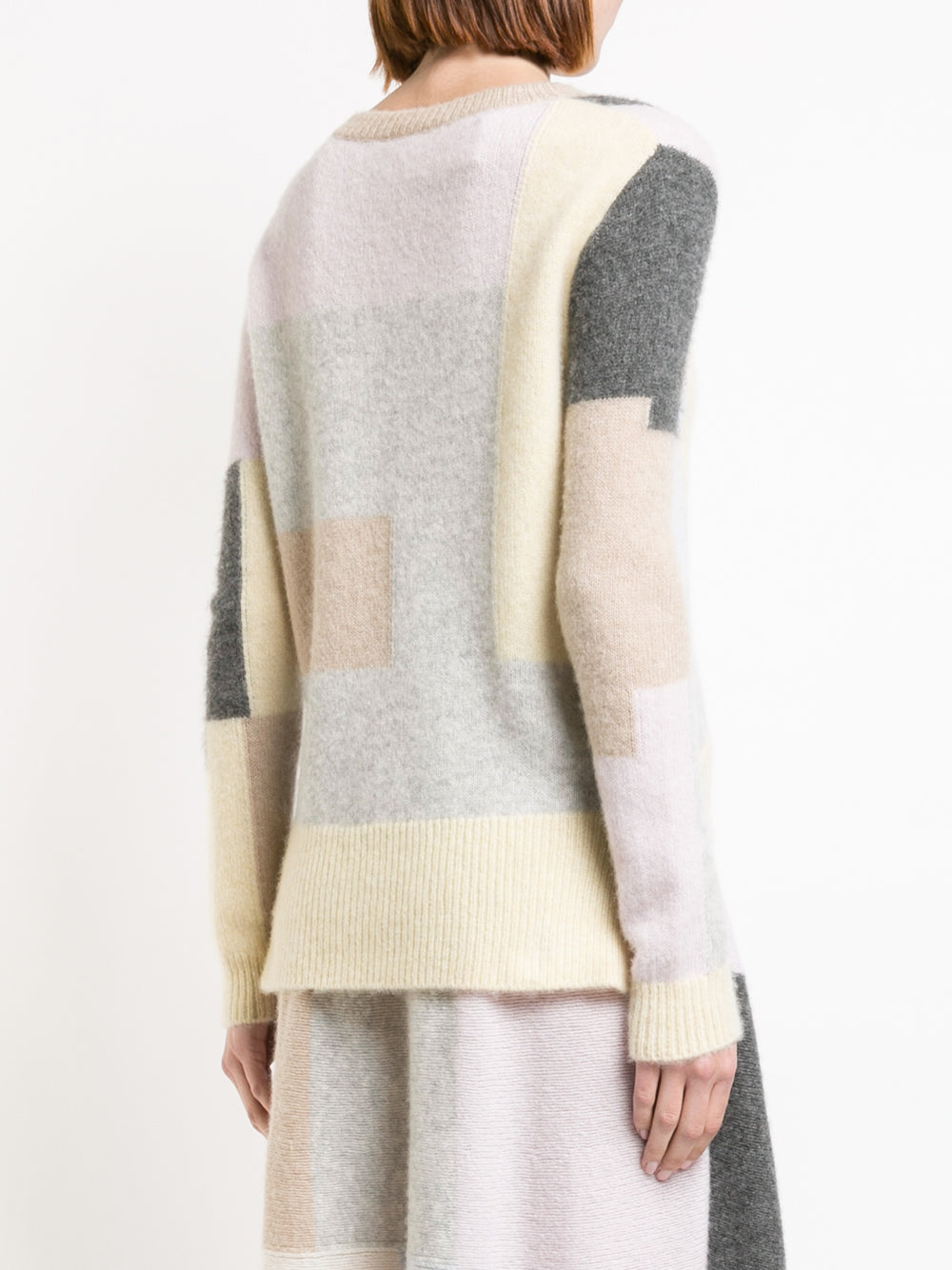 BRUSHED CASHMERE PATCHWORK LONG SLEEVE CREWNECK SWEATER