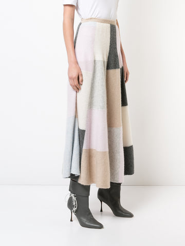 BRUSHED CASHMERE PATCHWORK CIRCLE SKIRT