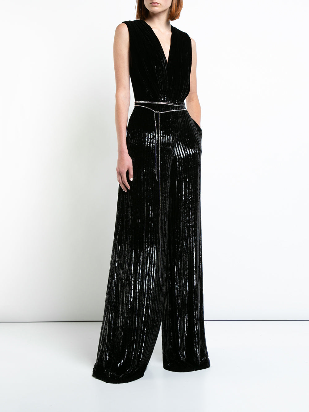STRIPED SILK VELVET SLEEVELESS V-NECK JUMPSUIT WITH CRYSTAL BELT