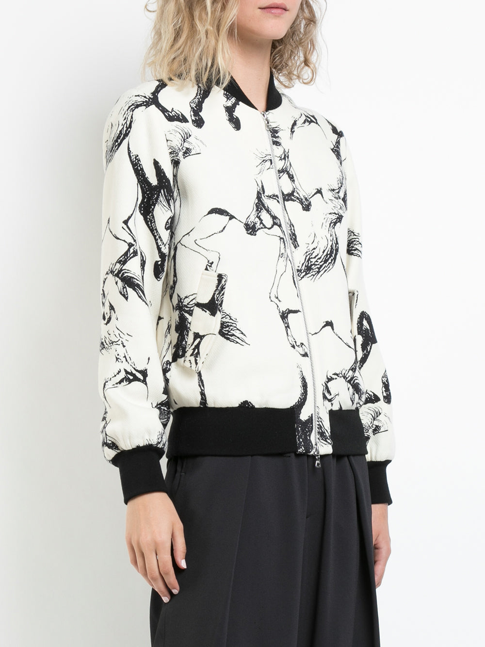 PRINTED WOOL AND SILK REVERSIBLE BOMBER JACKET