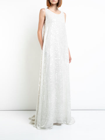 SEQUIN EMBROIDERED SLEEVELESS GOWN WITH KNOT BACK