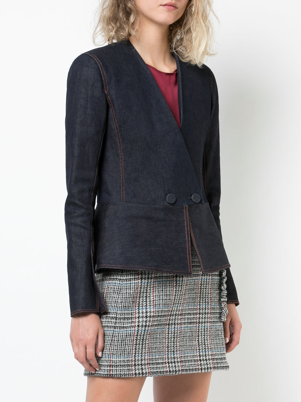 STRETCH DENIM TWILL PEPLUM BLAZER