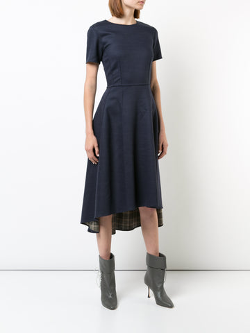 DOUBLE FACE WOOL SHORT SLEEVE DRESS WITH HIGH-LOW HEM