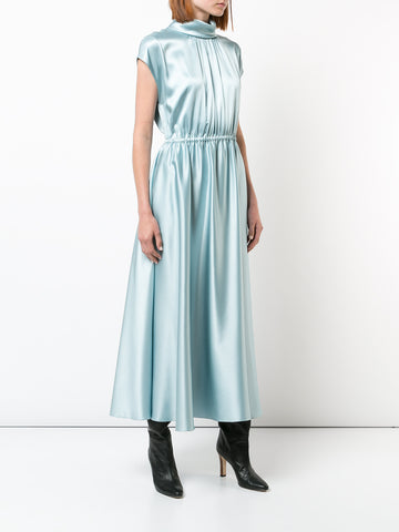 SILK CHARMEUSE MOCKNECK MIDI DRESS WITH SMOCKED SLEEVE